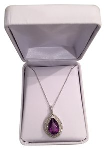 Gorgeous Amethyst and Diamond Necklace teardrop shape