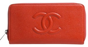 Chanel AUTHENTIC CHANEL CAVIAR CC LARGE ZIP WALLET CLUTCH BAG RED