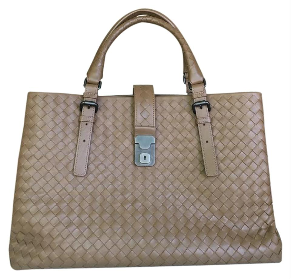 be2d1d594d86 Bottega Veneta Intrecciato Roma Camel Leather Tote - Tradesy