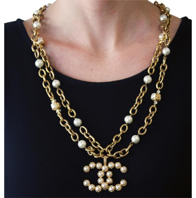 """Chanel Yellow Vintage 28 Season (Collection) Row Faux Pearl & Crystal Large Logo Pendant 30"""" Necklace Chanel Yellow Vintage 28 Season (Collection) Row Faux Pearl & Crystal Large Logo Pendant 30"""" Necklace Image 1"""