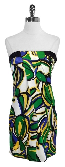 Laundry by Shelli Segal Print Silk Beaded Strapless Dress