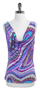 Trina Turk Print Silk Sleeveless Top Purple