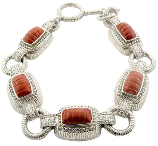Judith Ripka Judith Ripka Sterling Silver Red Jasper & Diamonique Toggle Bracelet