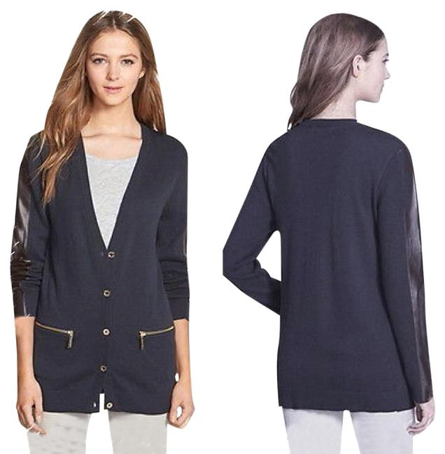 Preload https://item4.tradesy.com/images/michael-kors-navy-faux-leather-small-cardigan-size-6-s-6007438-0-0.jpg?width=400&height=650