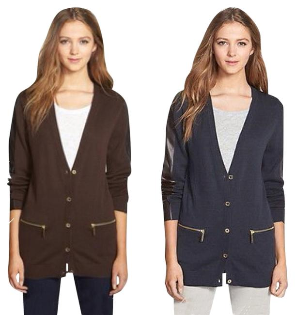 Preload https://item3.tradesy.com/images/michael-kors-chocolate-faux-leather-small-cardigan-size-6-s-6007462-0-0.jpg?width=400&height=650