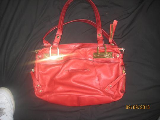 B. Makowsky Glove Leather Smooth Leopard Lining Classic Satchel in Red