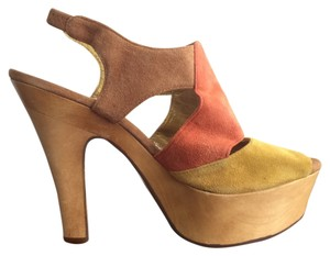 Charles by Charles David Wooden Heel Suede yellow, orange, & tan Platforms
