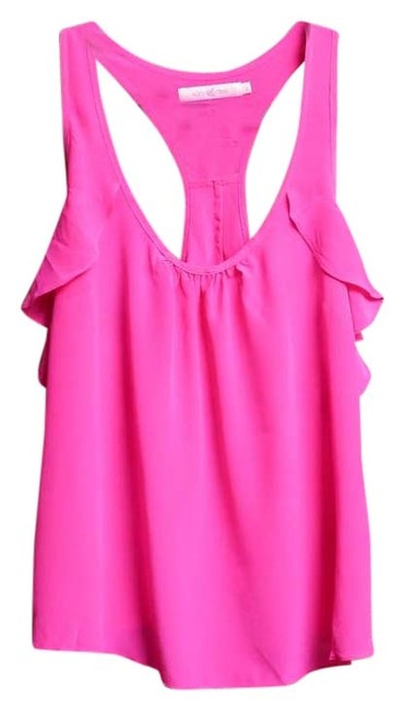 Alice & Trixie Silk Hot Racer-back Frilly Top Pink