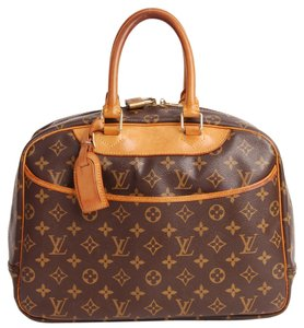 Louis Vuitton Deauville Classic Satchels Leather Weekend Travel Speedy Totes Satchel Luggage Brown Travel Bag