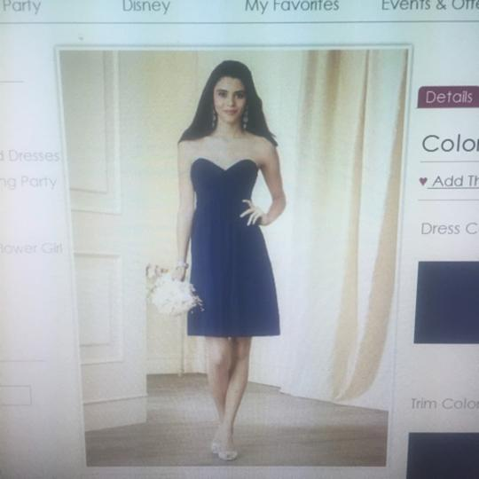 Alfred Angelo Navy Chiffon Casual Bridesmaid/Mob Dress Size 6 (S)