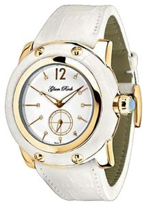 Glam Rock Glam Rock Women's Miami Collection Diamond Accented White Leather Watch