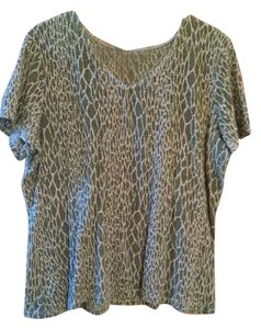 Jaclyn Smith Size 2xl Womens Green Short Sleeved Free Shipping Top Olive Tan Print