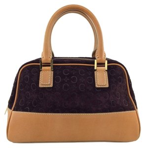 Céline Logo Leather Gold Hardware Monogram Satchel in Burgundy