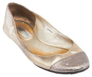 Jimmy Choo Ballerina Ballet Glitter Casual Formal Gold Flats