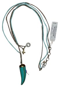 Lucky Brand Lucky Brand Teal Blow Horn Boho Turquoise Blue Layered Long Charm Necklace