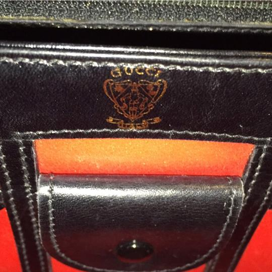 Gucci Vintage Crest Vibrant Red Lining Rare Unique Satchel in Black