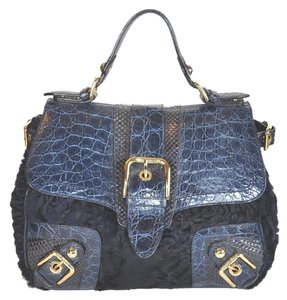 Dolce&Gabbana Rare Python Crocodile Karakul Medium Satchel in Blue