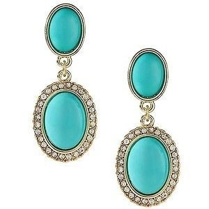 Banana Republic Banana Republic Socialite Turquoise Cabochon Crystal Tiered Earrings