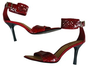 Carlos by Carlos Santana Mock Croc Ankle Strap Red Sandals