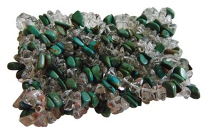 Green/Clear Turquoise Stretch Chip Bracelet size 7
