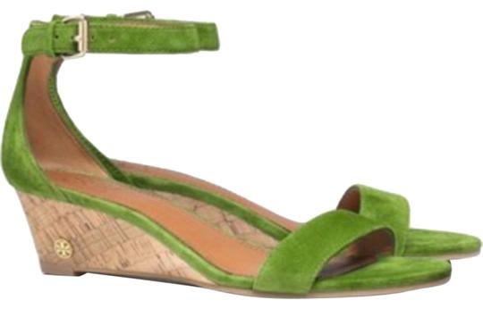 NIB Tory Burch Savannah Suede Wedge Sandals Green Sandals