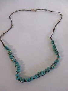 J.Crew J.crew Teal Brown Hammered Bead Rope Layering Necklace
