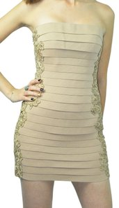 Sherri Hill Body Con Strapless Bandage Mini Cocktail Embroidery Dress
