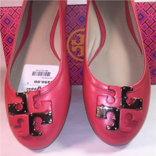Tory Burch Lowell Logo Icon Logo Red Pepper Flats