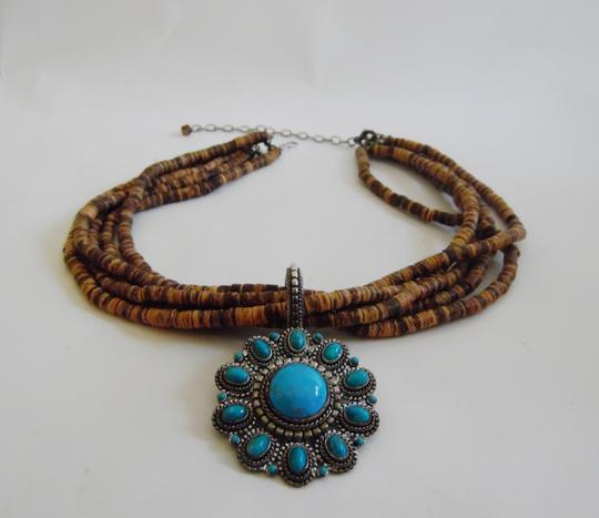 """R.J. Graziano R. J. Graziano 15"""" Faux Wood/Turquoise Necklace w/2 Inch Extender"""