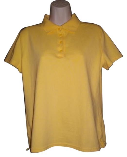 Cherokee Placket Short Sleeves Button Down Shirt Yellow