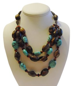 Other 3 Row Turquoise and Faux Wood Necklace 17 inch with Extender HSN