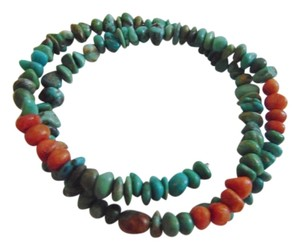Blue and Coral Turquoise Coil Bracelet (One Size Fits All) QVC