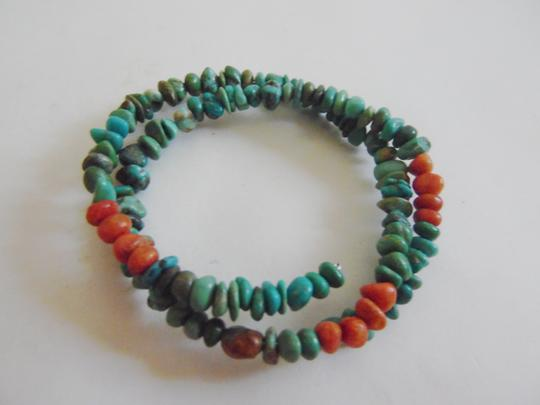 Other Blue and Coral Turquoise Coil Bracelet (One Size Fits All) QVC
