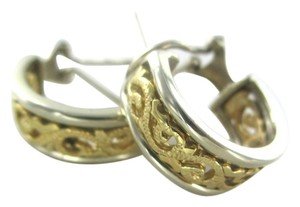 14KT SOLID YELLOW WHITE GOLD EARRINGS TWO TONE SCROLL HOOP 9.4 GRAMS FINE JEWEL