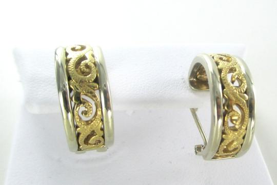 Other 14KT SOLID YELLOW WHITE GOLD EARRINGS TWO TONE SCROLL HOOP 9.4 GRAMS FINE JEWEL
