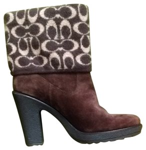 Coach Wool Leather Chestnut Brown Boots
