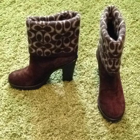Coach Wool Leather Signature Chestnut Brown Boots