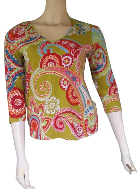 Chico's Colorful Cotton 3/4 Sleeves T Shirt Multi-color