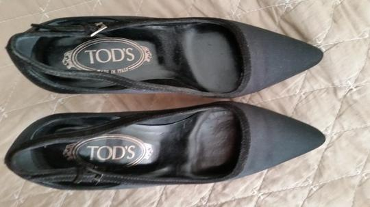 Tod's Silk Satin Black Pumps