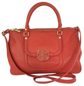 Tory Burch Amanda Double Zip Red Flame Tote in Flame Red