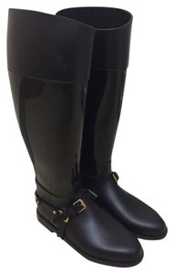 Jimmy Choo Rubber Gold Hardware Pull On Black Boots