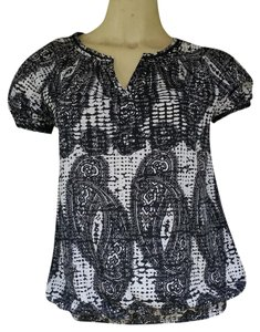 Banana Republic Paisley & White Top Black