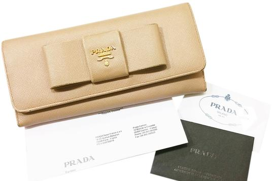 Prada Authentic Prada Saffiano Bow Leather Bi Fold Beige Long Wallet
