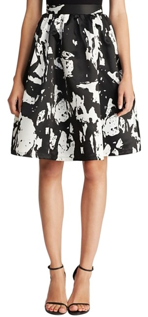 Lucy Paris Full A-line Bloom Black White Graphic Skirt Floral