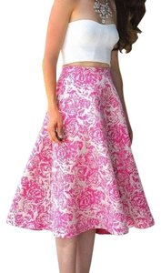 Champagne & Strawberries Floral Holiday A-line Skirt Pink Rose Brocade