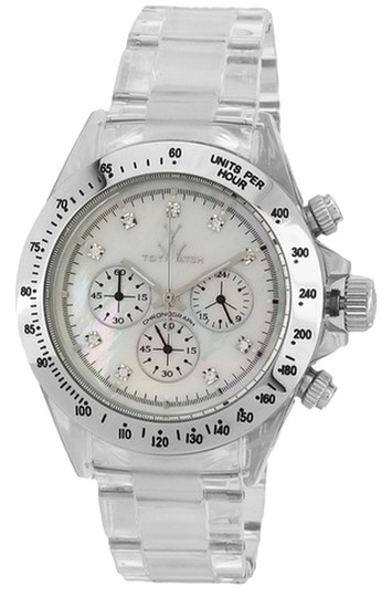 Preload https://item2.tradesy.com/images/toywatch-clear-white-mother-of-pearl-silver-tone-41mm-chronograph-watch-6018706-0-0.jpg?width=440&height=440
