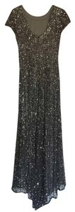 Adrianna Papell Floor Length Sequin Charcoal Dress