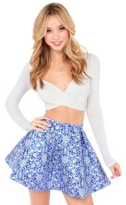 Lulu*s Glamorous A-line Full Mini Mini Skirt Blue Floral Brocade