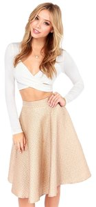 Lulu*s Shimmer Holiday A-line Full Taupe Gold Rose Rose Gold Skirt Tuape