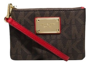 Michael Kors Jet Set Signature Wallet Wristlet in Brown Chili Red